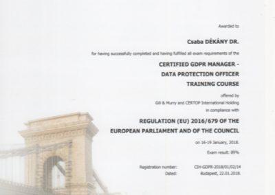 Dekany Csaba DPO GDPR certificate