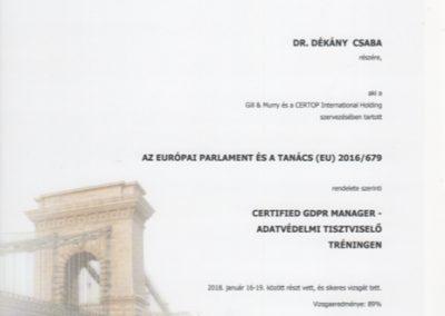 Dekany Csaba adatvedelmi tisztviselo GDPR tanusitvany
